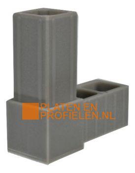 Kunststof kniestuk. 2-weg verbindingstuk voor koker 20x20x1,5 mm