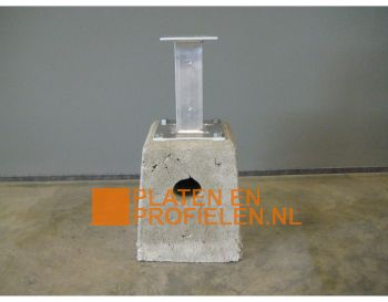 Betonpoer met aluminium stelvoet. Voor staander 120x120 mm